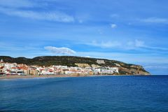 Sesimbra beach town view Royalty Free Stock Image