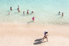 Aerial view of a beach in a sunny day in Sesimbra, Portugal royalty free stock image