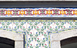 Sesimbra in Portugal. Sesimbra Azulezos Mosaics on the house  (Portugal Royalty Free Stock Image