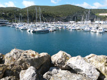 Sesimbra in Portugal. Sesimbra Harbour in Portugal with boats Royalty Free Stock Photography