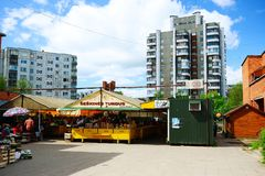 Seskines district market in Vilnius town Royalty Free Stock Images