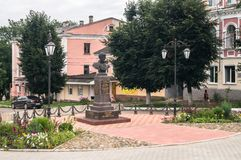 Seslavin将军纪念品在市勒热夫,特维尔地区,俄罗斯 免版税库存图片