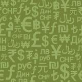 Sesmless Grunge International Money Signs Royalty Free Stock Image