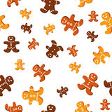 Sesmless vector pattern with cute gingerbread cook Stock Image