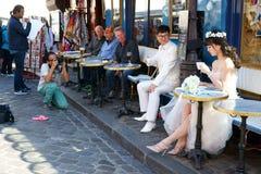 Sessão de foto do casamento, Paris fotografia de stock