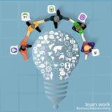Sessão de reflexão do negócio do trabalho da equipe do vetor Imagem de Stock Royalty Free