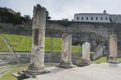 Sessa Aurunca, Italia, 3 de abril 2016 Vista del SE romano antiguo Fotografía de archivo libre de regalías