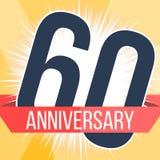Sessenta anos de bandeira do aniversário 60th logotipo do aniversário Ilustração do vetor Fotografia de Stock Royalty Free