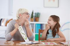 Session with alphabet learning Royalty Free Stock Photos