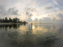Sunset paddle. Session paddle in gili air amazing time Stock Images