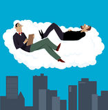 Session with a psychiatrist. Psychiatrist having a therapy session with his patient on a cloud above a city, EPS 8 vector illustration stock illustration