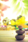 Session spa pile zen stones burning candles Stock Images