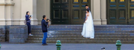 Sessione di foto di nozze Immagine Stock Libera da Diritti