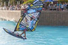 Sessione di windsurf nel parco del Siam PWA2014 Tenerife Fotografie Stock