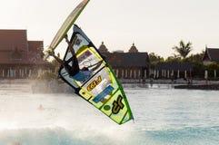 Sessione di windsurf nel parco del Siam PWA2014 Tenerife Fotografie Stock Libere da Diritti