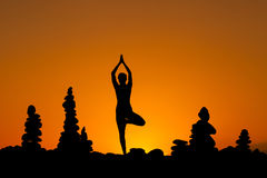 Sessione orientale di yoga su Tenerife Fotografie Stock Libere da Diritti