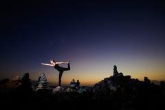 Sessione orientale di yoga su Tenerife Fotografia Stock Libera da Diritti