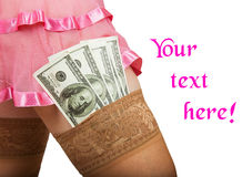 Sesso per soldi con una donna attraente Fotografia Stock Libera da Diritti