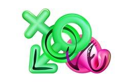 Sesso sicuro dei graffiti con amore dell'iscrizione di calligrafia Segno maschio e femminile 3d di genere Affiliazione sessuale d illustrazione vettoriale