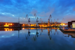 Sestao cranes from Erandio at night Stock Images