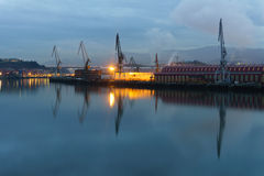 Sestao cranes from Erandio at night Stock Photo