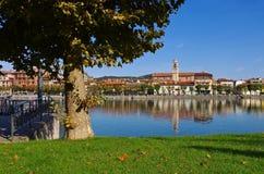 Sesto Calende på sjön Lago Maggiore Royaltyfria Foton