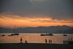 Sestri levante beach at sunset Royalty Free Stock Images