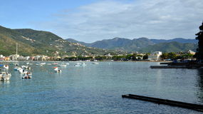 Sestri Levante, Liguria, Italy. View on Bay of Fables or Bay of Fairy Tales named in honor of famous writer, Hans Christian Andersen royalty free stock images