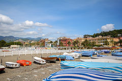 Sestri Levante, Liguria: Seaside with old town and beach Baia delle Favole - Bay of the Fables, Italy. Europe stock images