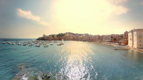 Sestri Levante Porto Bello Late Afternoon. Static high wide angle high dynamic range shallow depth of field panoramic shot of the iconic Baia del Silenzio, also stock video footage