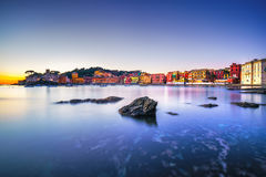 Sestri Levante, silence bay rocks, sea and beach view on sunset. Stock Image