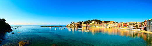 Sestri Levante, silence bay sea and beach panorama. Liguria, Ita royalty free stock images