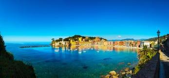Sestri Levante, silence bay sea and beach panorama. Liguria, Ita Royalty Free Stock Photography
