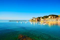 Sestri Levante, silence bay sea and beach view. Liguria, Italy. Sestri Levante silence bay or Baia del Silenzio sea harbor and beach view on morning. Liguria Stock Photo