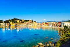 Sestri Levante, silence bay sea harbor and beach view. Liguria, Stock Images