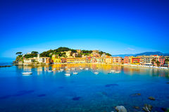 Sestri Levante, silence bay sea harbor and beach view. Liguria, Stock Image