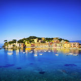Sestri Levante, silence bay sea harbor and beach view. Liguria, Royalty Free Stock Images