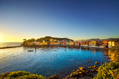 Sestri Levante, silence bay sea harbor and beach view on sunset. Royalty Free Stock Photography