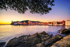 Sestri Levante, silence bay sea harbor and beach view on sunset. Stock Photography