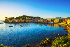 Sestri Levante, silence bay sea harbor and beach view on sunset. Royalty Free Stock Images