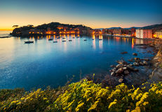 Sestri Levante, silence bay sea harbor and beach view on sunset. Stock Photo