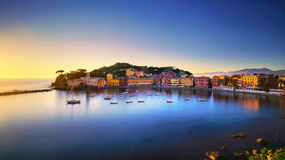 Sestri Levante, silence bay sea harbor and beach view on sunset. Royalty Free Stock Photo