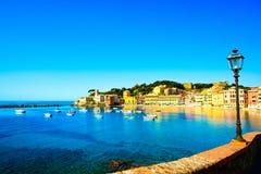 Sestri Levante, silence bay sea harbor, street lamp and beach vi Stock Photo