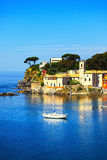 Sestri Levante, silence bay sea harbor and trees on the rocks. L Royalty Free Stock Photos