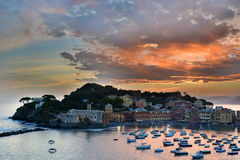 Sestri Levante after the sunset. Liguria, Italy Royalty Free Stock Photos