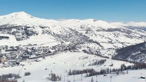 Sestriere Aerial view from drone, famous snow covered ski resort in the italian Alps.  stock footage
