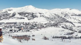 Sestriere Aerial view from drone, famous snow covered ski resort in the italian Alps.  stock video footage