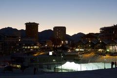Sestriere di notte all'ora blu Fotografia Stock Libera da Diritti