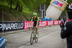Sestriere, Italia 30 de mayo de 2015; Davide Formolo aborda la subida pasada antes de llegada Imagenes de archivo