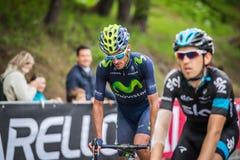 Sestriere, Italia 30 de mayo de 2015; El grupo de ciclistas profesionales aborda la subida pasada antes de arriva Foto de archivo
